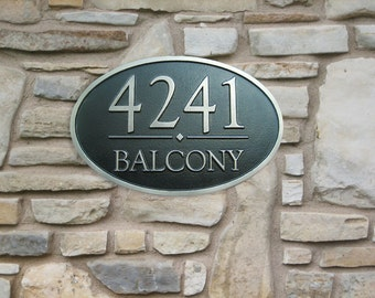 Oval Address Plaque Coated in White-Bronze with Black Patina