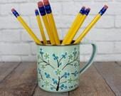 Enamel and Tin Cup, Tin Coffee Mug, Blue Floral Tin Cup, Flowering Tree Mug, Tin Tea Cup, Mug Lovers, Mug Collector, Enamel Tin Cup