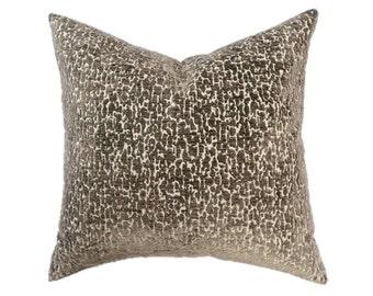 "Brown and Cream Animal Print Cut Velvet Designer Pillow Cover- Accent Pillow- Throw Pillow- Holds 22"" Insert"
