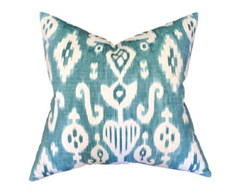 """Ikat Pillow- Turquoise Blue and Cream Ikat Designer Pillow Cover- Accent Pillow- Throw Pillow- Holds 22"""" Insert"""