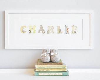 FRAMED Name Art, Personalised Print, Woodland Animal, Unisex Nursery, Kid's Wall Art - MAXIMUM 11 Letters - read product description.