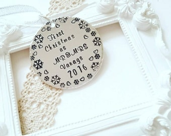 Our first Christmas ornament, Couples Christmas ornament, Handstamped personalized ornament, First Christmas as Mr and Mrs, Couples gift