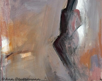abstract figure painting - lavender print - fine art Giclee'  - FREE US SHIPPING