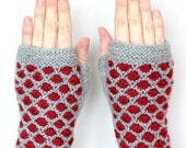 Hand Knitted Fingerless Gloves,  Grey, Red, Clothing And Accessories, Gloves & Mittens, Accessories, Gifts, READY TO SHIP, size M, M/L
