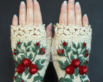 Knitted Fingerless Gloves, Gloves & Mittens, Gift Ideas, For Her, Winter Accessories, Ivory, Roses