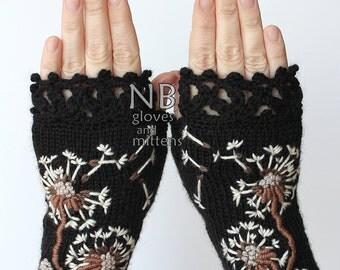 Knitted Fingerless Gloves, Dandelion, Black, Ivory, Gloves & Mittens, Gift Ideas, For Her, Winter Accessories