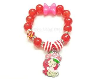 Strawberry Shortcake Charm Beaded Bracelet, Girls Bracelets, Gifts, Stretchy, Stocking Stuffer, Custom, Handmade Beaded Jewelry