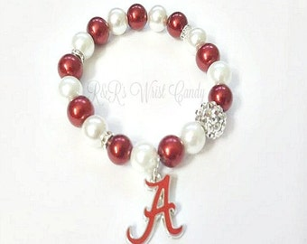 University of Alabama Crimson Tide Bracelets, Football Bracelets,Team , Stretchy, Womens Bracelets, Handmade, Custom Beaded Jewelry