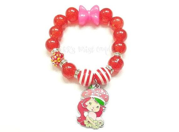 Strawberry shortcake charm beaded bracelet girls for Strawberry shortcake necklace jewelry