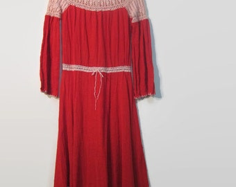 1970s crocheted lace maxi dress / boho long sleeve cotton dress / hippie crochet dress / red cotton gauze dress