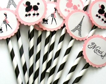 12 Paris Party Straws, Paris Birthday, French Theme, Parisian Theme, Paris Baby Shower, Poodle Party, Tea Party, Paris Theme, Poodle Theme