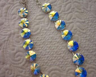 Flashy Huge Crystal AB  Swarovski Necklace 18mm Crystals