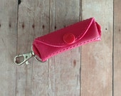 Lip Balm Holder, Vinyl in Your Choice of 31 Colors with Lobster Clasp Clip, Snap Closure, Quick Ship, Made in USA