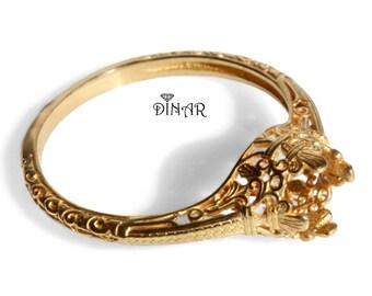 14k gold ring without gemstone, Ring setting Vintage gold Engagement ring, 18k gold ring setting, antique engagement ring, promise ring