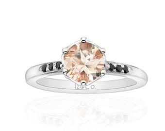 Flora Morganite & Black Diamond Ring White Gold