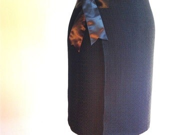 Black Wool Wrap Skirt
