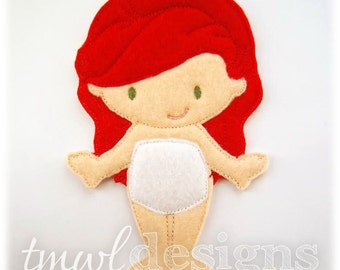 Andrina Felt Paper Doll Toy Digital Design File - 5x7