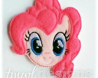 "Pinkie Pony Head Feltie Digital Design File - 1.75"""