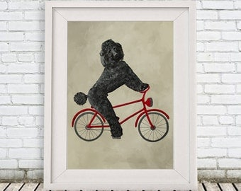 Poodle Print, poodle Illustration Art Poster, Kids Decor Drawing Gift, Dog on bicycle, bicycle print, christmas gift, holiday gift