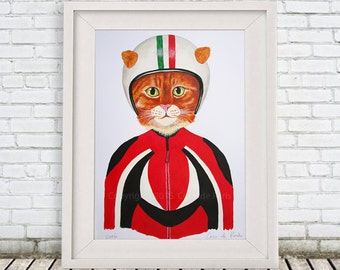 Cat with helmet  ORIGINAL PAINTING handpainted on high quality 300g Clairfontaine Art paper , oil painting, handpainted by Coco de Paris: