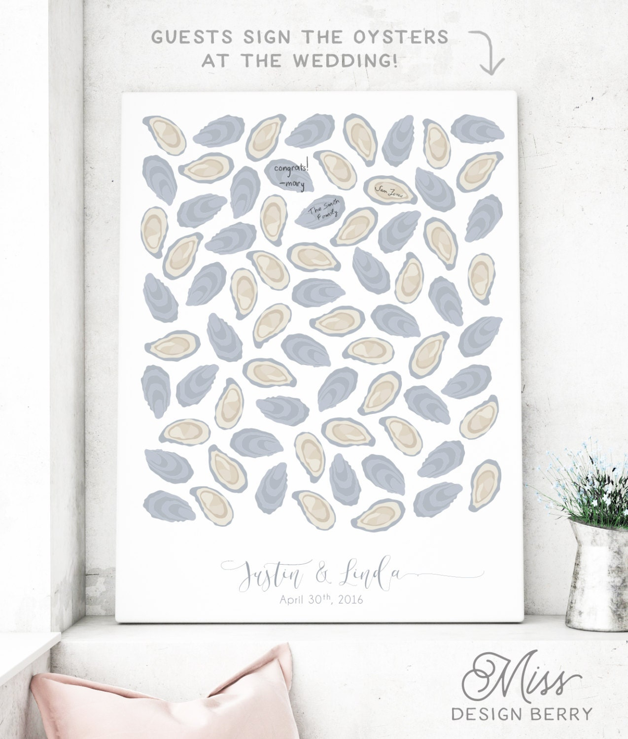 Beach Wedding Guest Book Alternative With Oysters Canvas
