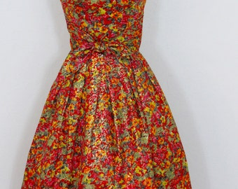 1950s - Early 1960s Suzy Perette Metallic Floral Party Dress