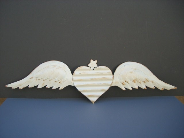 Rustic Angel Wings Wall Decor : Angel wings white wall decor w rustic