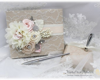 Wedding Lace Guest Book Pen Holder Set Jeweled Birthday Linen Book Bridal Flower Brooch Guest Books Custom Signature Book in Ivory, Pink
