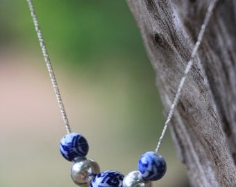 Chinese porcelain and handmade silver spheres necklace (N0078)
