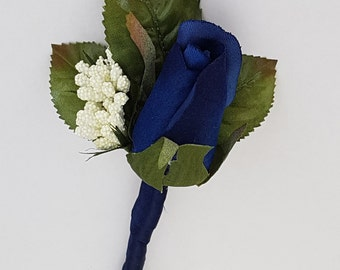 Silk rose wedding buttonhole, Wedding Flowers, Wedding Corsage, Buttonholes, Blue Buttonholes, Royal Blue Flowers, Royal Blue Weddings