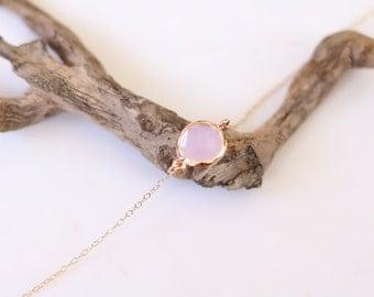 Pink Chalcedony Bracelet - Charm Bracelet - Gemstone Bracelet - Gold Bracelet - Pink Bracelet - Arm Candy - Pink Quartz - Stacking Bracelet