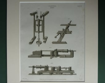 1812 Antique Military Engineering Print, Munition Decor, Available Framed, Engineer Art, Weaponry Gift for Soldier, War Machinery Cannon Art