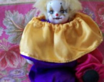 Small Harlequin Clown Doll Colorful Satin Outfit Retro Doll Home Decor