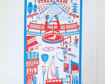 Streatham tea towel / London illustration / Streatham print
