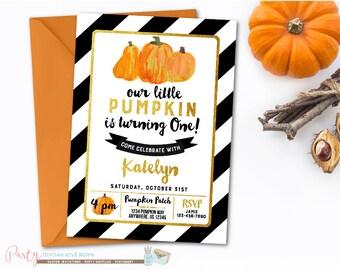 Pumpkin Birthday Invitation, Fall Birthday Invitation, Pumpkin Patch Birthday Invitation, Pumpkin Invitation, Black and Gold Invitation