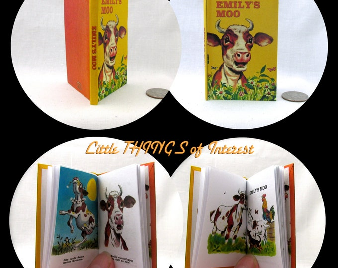 EMILY'S MOO Illustrated Book in 1:3 Scale Readable Doll Book American Girl Book 18 inch AG Doll 1/3 Scale