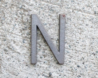 """N - 5"""" Cast Iron Metal Letter N - NO drill holes"""