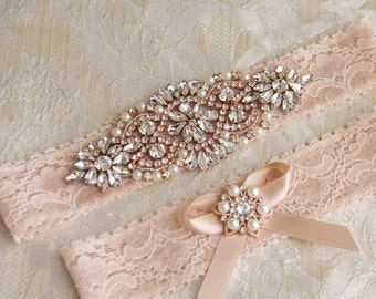 Rose Gold Wedding Garter Set, Bridal Garter Set, Blush Lace Wedding Garter, Crystal Garter Set, Blush Lace Garter Set