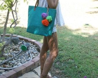 Pom Pom Beach Tote. Canvas Tote Bag. Tote Bags Leather. Canvas Beach Bag. Pom Pom Bag. Canvas Travel Bag. Pom Pom Bag. Free Shipping