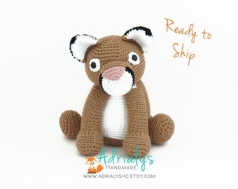 Crochet Cougar- Stuffed Cougar- Cougar Plush- Woodland Animals- Big Cats- Handmade Cougar- Crochet Toy- Ready to Ship