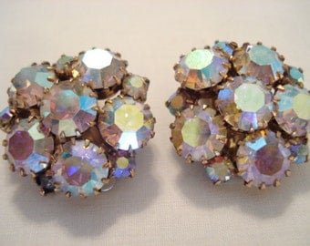 Stunning Vintage 1950s Aurora Borealis Rhinestone Clip Earrings Prong Set
