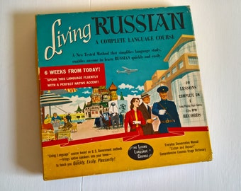 Living Russian A Complete Language Course --- Vintage Listen & Repeat Records --- 1950's Russia World Traveler Vinyl Hipster Rosetta Stone
