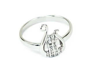 Sterling Silver Lyre Ring with simulated Diamonds // Apollo Inspired Lyre Ring // Lyres // Music Lyre// Apollo's Lyre // Greek Mythical Lyre