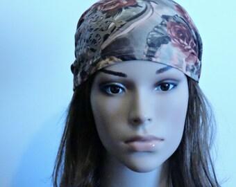 Pre Tied Head Scarf, Floral Bandana, Women Head Warp, Cancer Scarves, Chemo Headwear, Head Covering, Ticehl, Snood, Headcovering, Headscarf