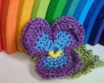 Pansy Flower Brooch Accessory, Handmade Crochet