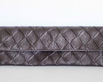 Dark Chocolate Evening Clutch, Evening Clutch, Evening Bag, Metallic, Faux Leather, Party Clutch, Handbag, Foldover Clutch