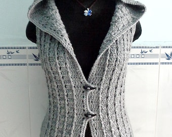 Crocheted Overcast vest ( size S/M ) - free worldwide shipping