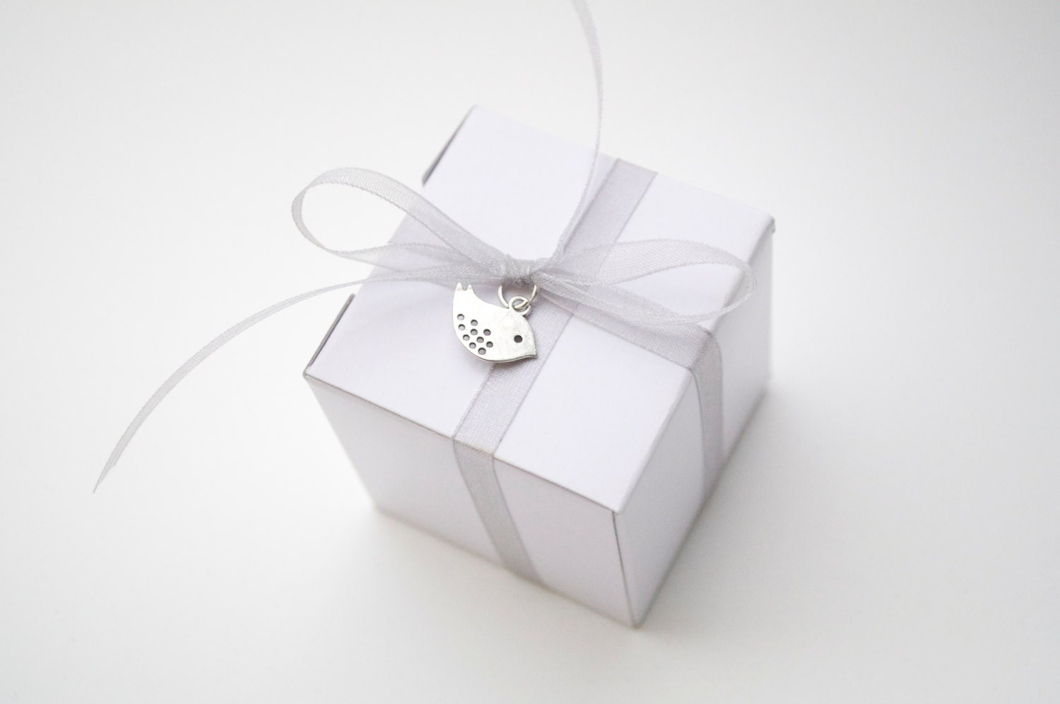 Bird Wedding Favor White And Silver Boxes Favors For Guests Small Candy With Ribbon Mini