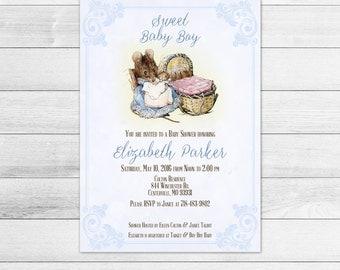 Beatrix Potter Baby Shower Invitation, Blue, Boy, Hunca Munca, Printable Digital Invite File