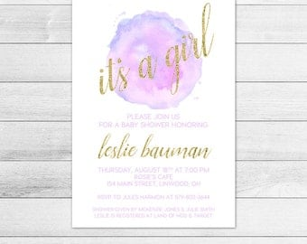 Purple Watercolor Baby Shower Invitation, Girl Digital Printable Invite, Gold, Glitter, Lilac, Lavender